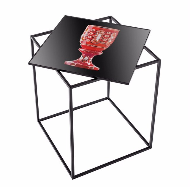 Square metal high side table MT-40 by MOMENTI