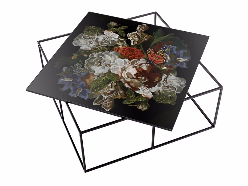 Low square metal coffee table MT-80 by MOMENTI