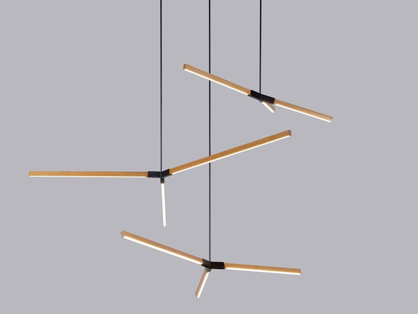 LED wooden pendant lamp MULTIPLE BOUGH by Stickbulb