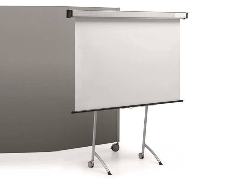 Painted metal office whiteboard with castors MULTIKOM 3003 by TALIN