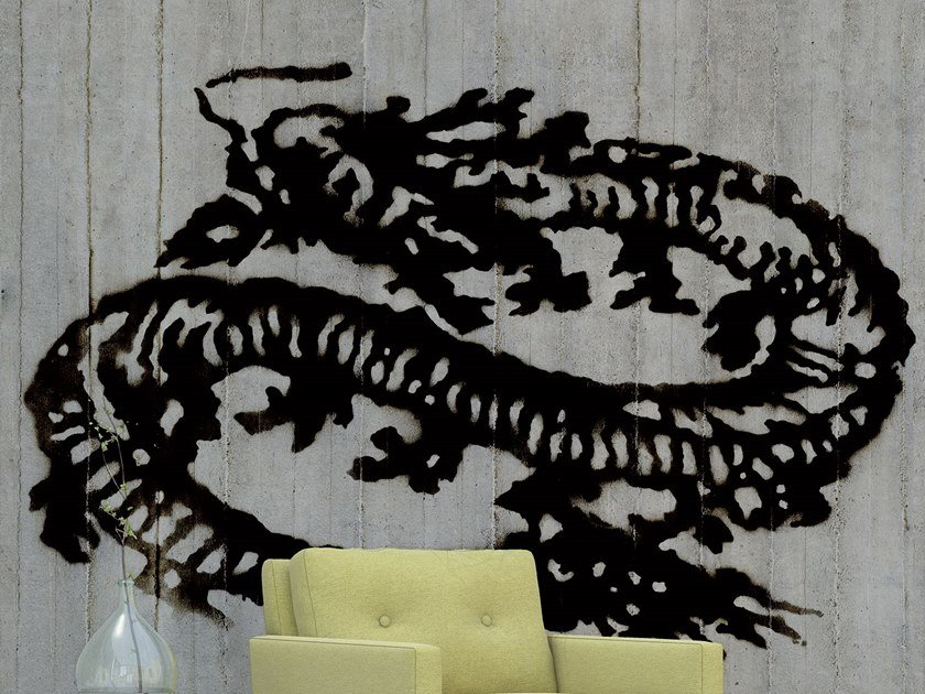 Motif glass-fibre wallpaper with concrete effect MURKY by Tecnografica Italian Wallcoverings