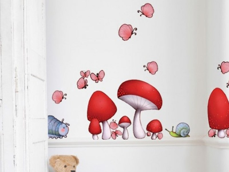 Kids wall sticker with floral pattern MUSHROOM by ACTE-DECO