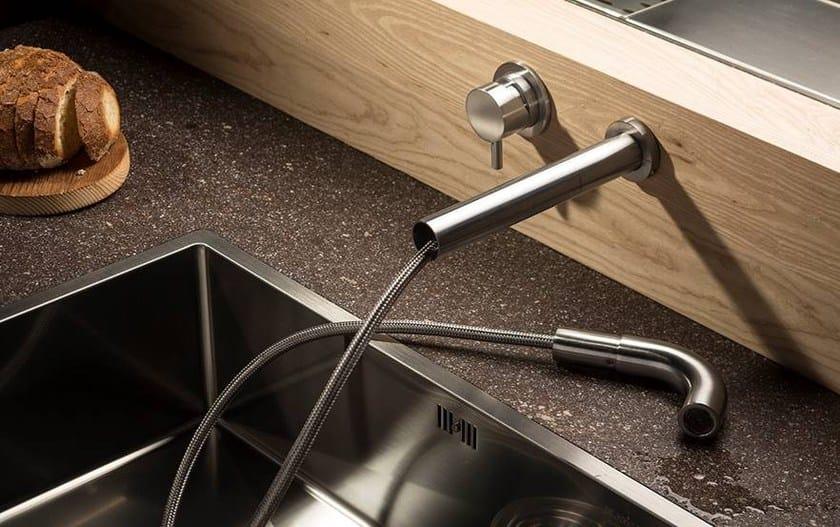 Rubinetto da cucina a muro con doccetta estraibile MUST 9696 ...