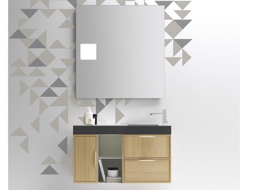 Mobile lavabo sospeso con cassetti MUTEVOLE 03 by Karol