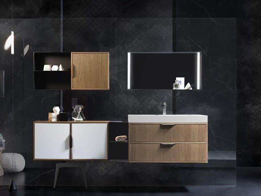 Mobile lavabo sospeso con cassetti MUTEVOLE 08 by Karol