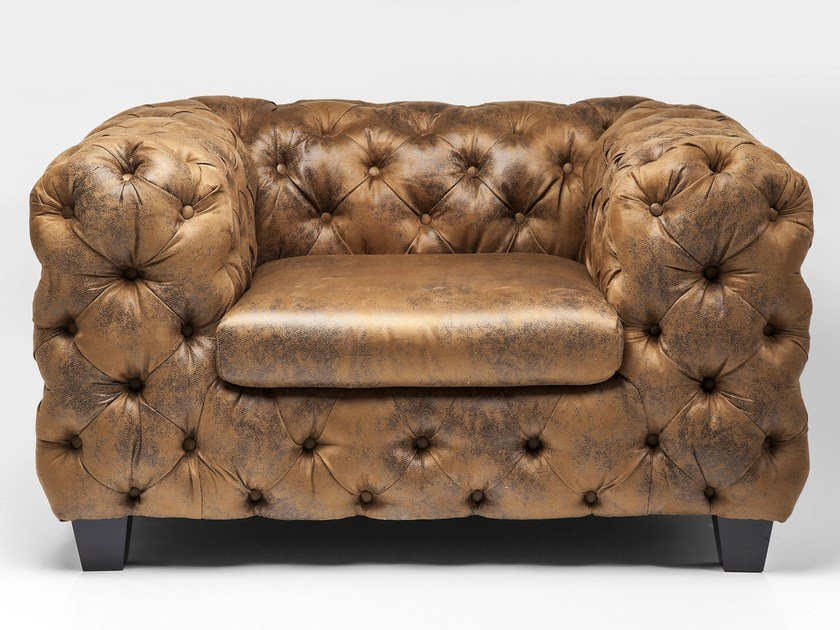 Vintage style tufted leather armchair with armrests MY DESIRE VINTAGE by KARE-DESIGN