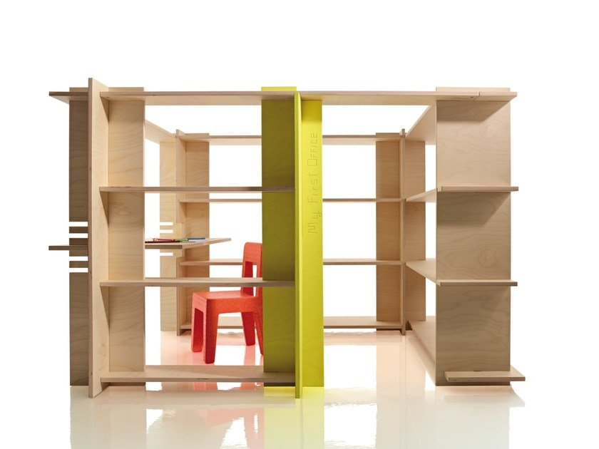 Divider multi-layer wood kids bookcase with secretary desk MY FIRST OFFICE by Magis