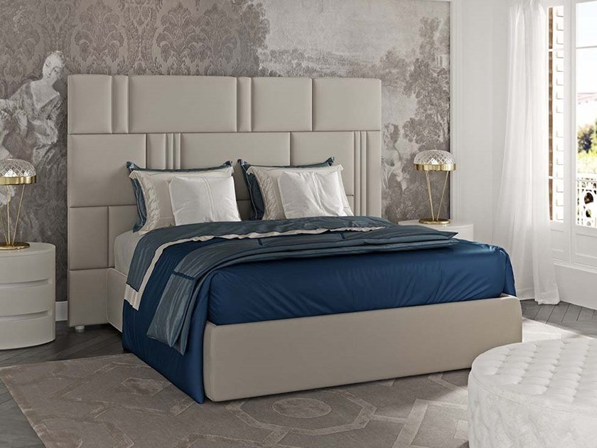 Nabuk bed double bed with upholstered headboard MYFAIR by Scandal