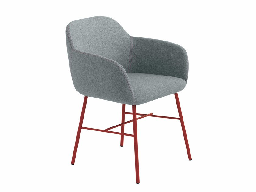 Fabric chair with armrests Myra 653 by Metalmobil