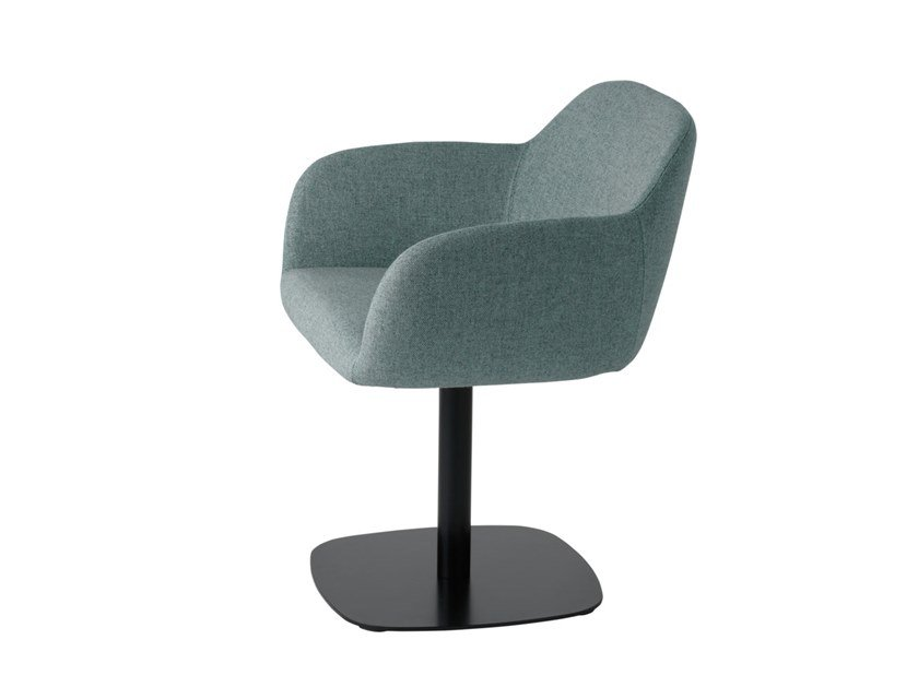 Swivel fabric easy chair with armrests Myra 675 by Metalmobil