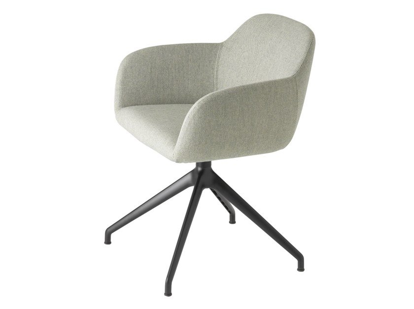 Swivel fabric easy chair with armrests MYRA 678 by mETALmobil