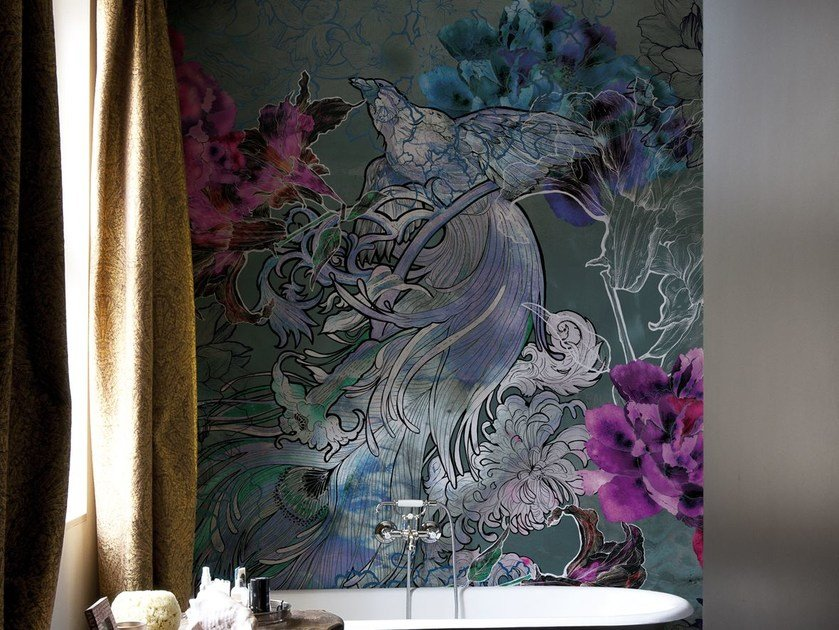 Wallpaper with floral pattern MYSTICAL DREAM by Wall&decò