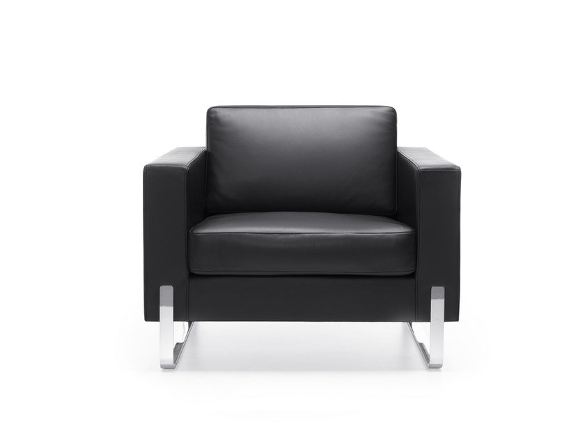 Sled base leather armchair with armrests MYTURN 10V by profim