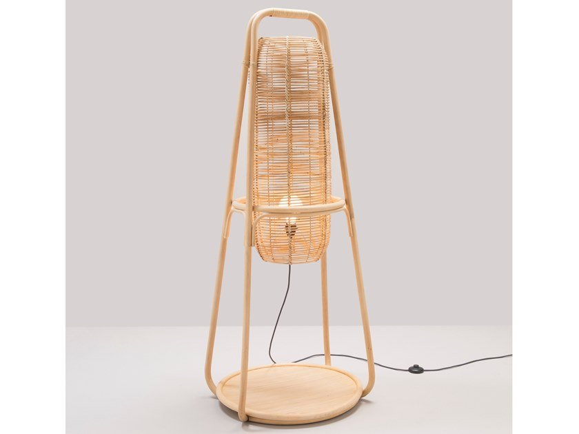 Rattan floor lamp NACELLE | Floor lamp by Orchid Edition