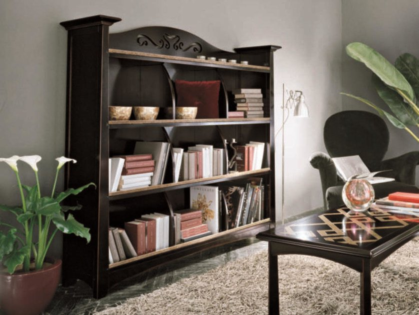 Open solid wood bookcase NAIMA | Lacquered bookcase by Arvestyle