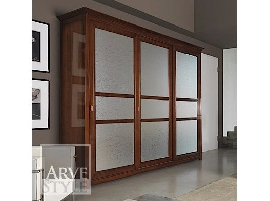 Wood and glass wardrobe with sliding doors NAIMA | Wooden wardrobe by Arvestyle