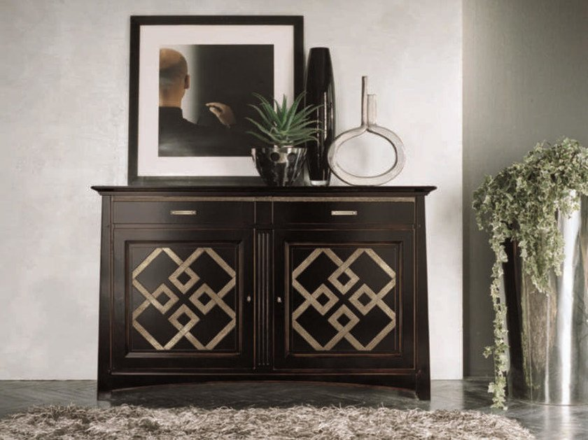 Solid wood sideboard with doors NAIMA | Lacquered sideboard by Arvestyle
