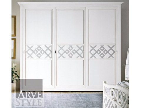 Solid wood wardrobe with sliding doors NAIMA | Lacquered wardrobe by Arvestyle