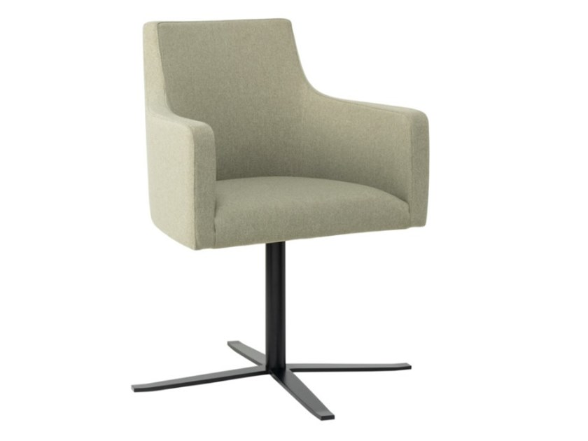 Fabric chair with 4-spoke base with armrests and metal base NANCY PO01 BASE 24 by New Life