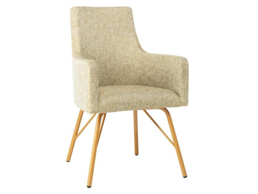 Upholstered fabric chair with armrests and metal base NANCY PO01 BASE 21 by New Life