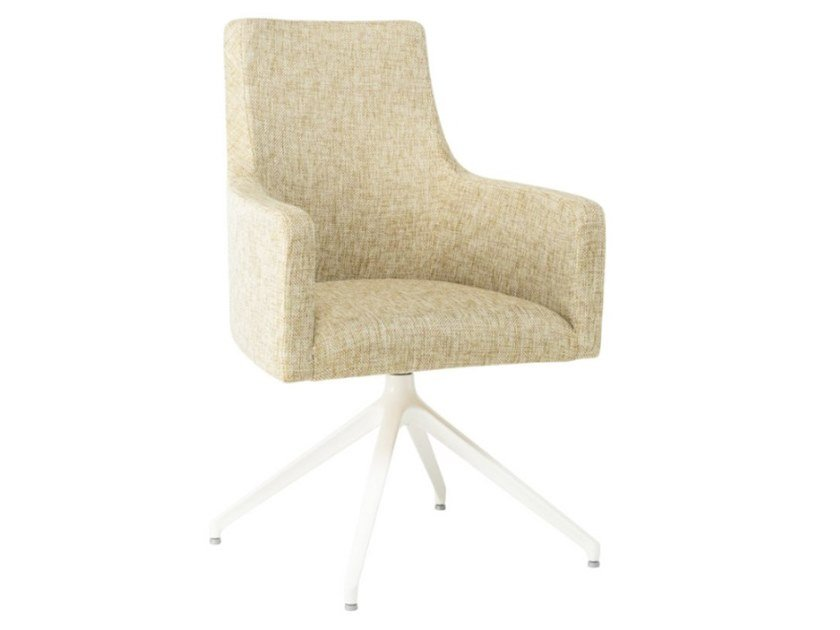 Trestle-based fabric chair with armrests and metal base NANCY PO01 BASE 22 by New Life