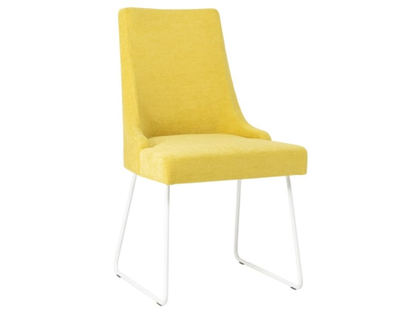 Sled base upholstered fabric chair with metal base NANCY SE01 BASE 20 by New Life