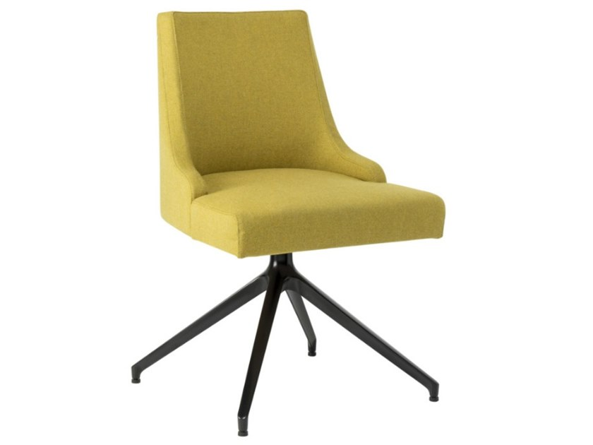 Swivel trestle-based fabric chair with metal base NANCY SE01 BASE 22 by New Life