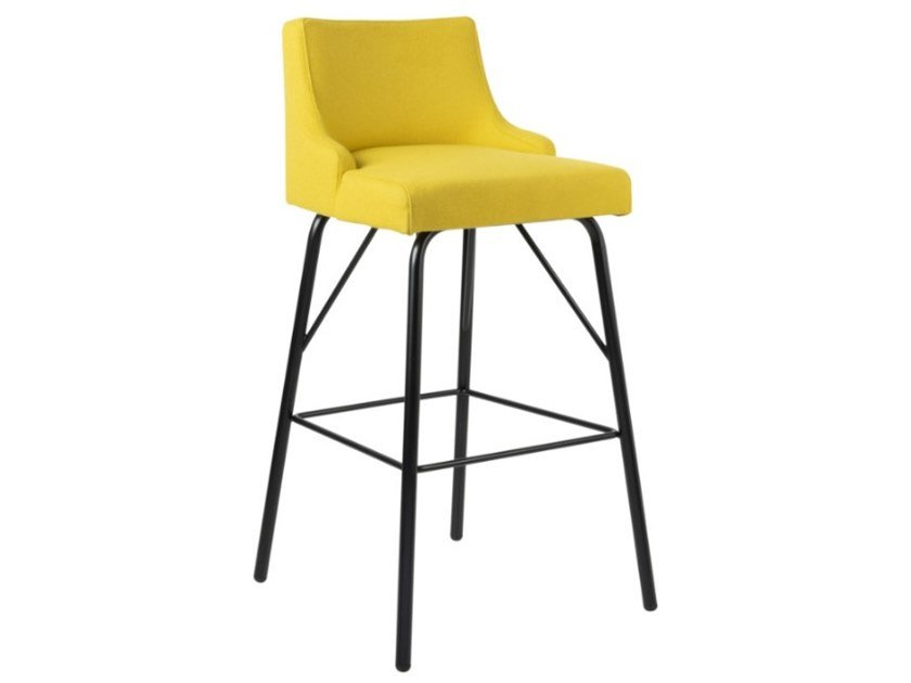 High fabric stool with footrest and metal base NANCY SG01 BASE 21 by New Life