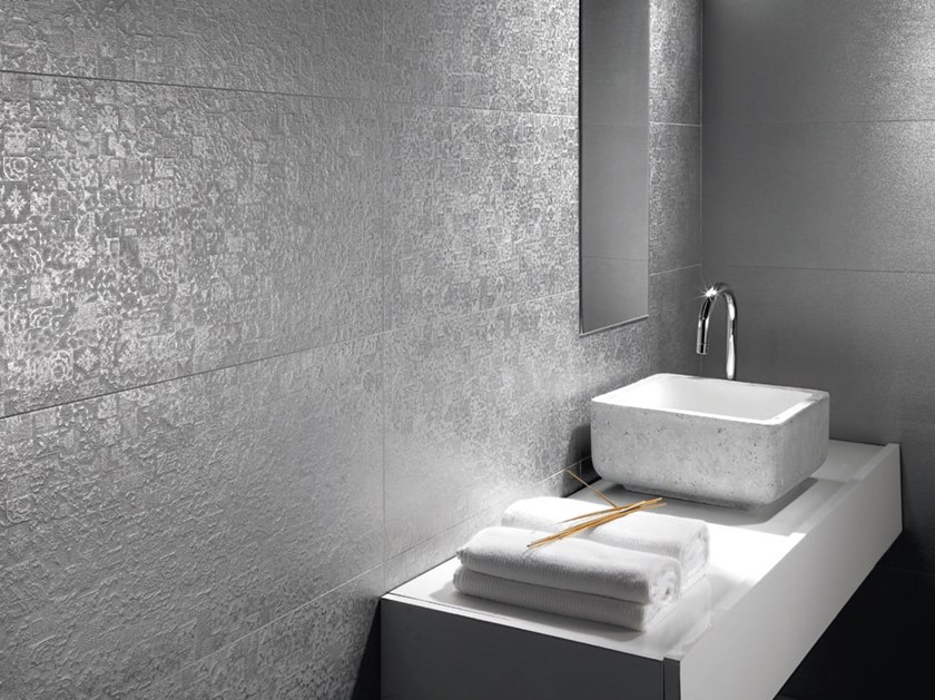 Technical porcelain wall/floor tiles with metal effect NANOECLECTIC by APAVISA