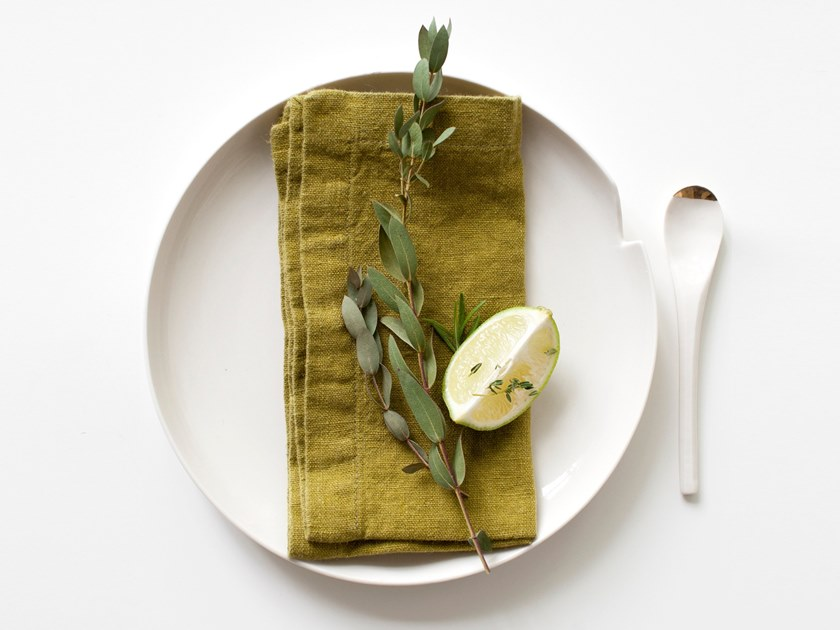 Washed linen napkin MOSS GREEN | Napkin by Linen Tales