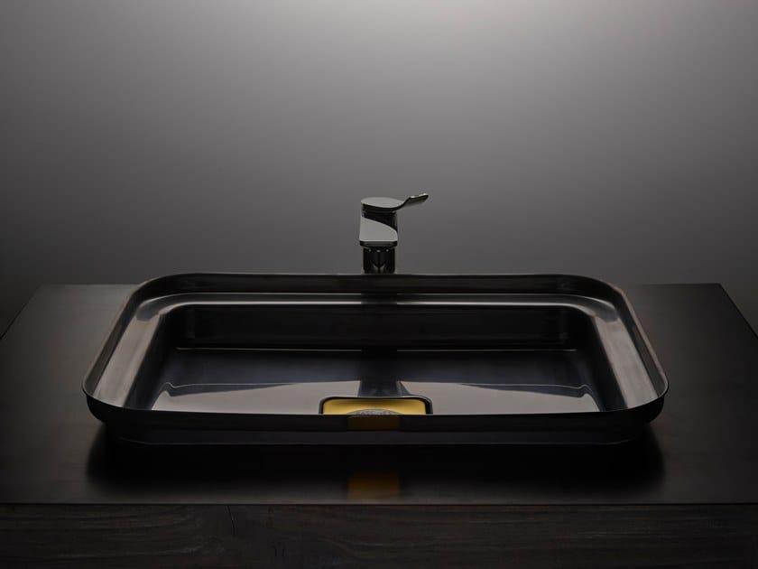 Rectangular stainless steel washbasin NARCIS BLACK   Rectangular washbasin by BASSINES