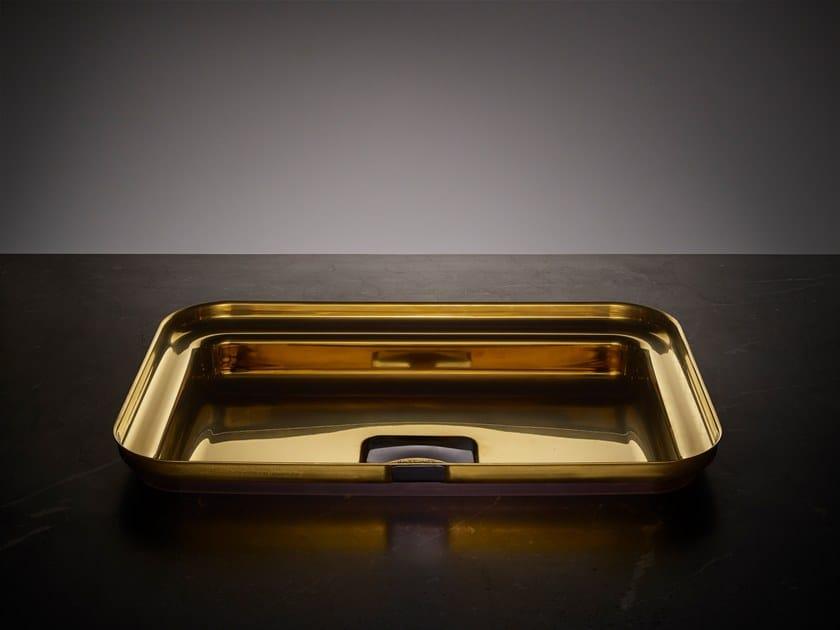 Rectangular single stainless steel washbasin NARCIS BRASS | Rectangular washbasin by BASSINES