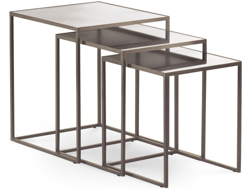 Stackable square mirrored glass coffee table NARCISO | Square coffee table by Cantori
