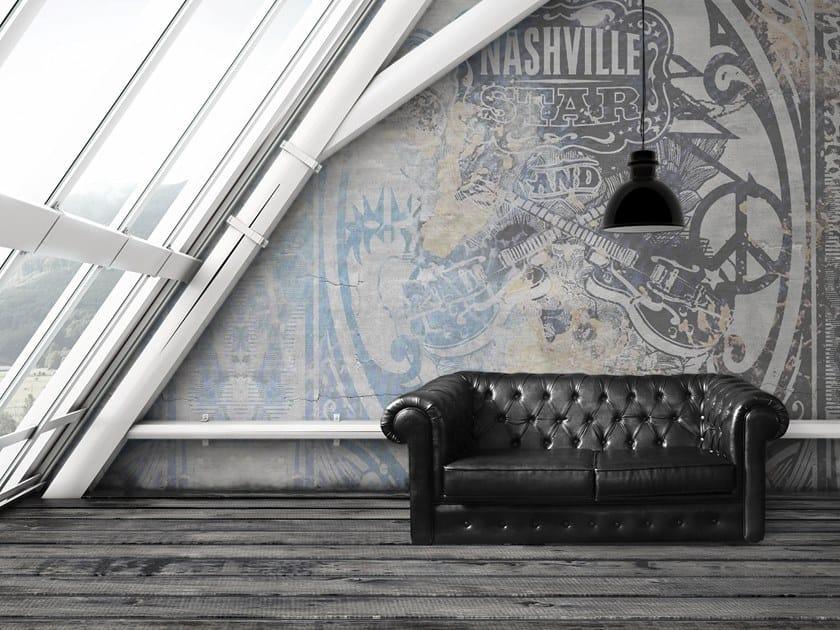 Wall effect writing glass-fibre wallpaper NASHVILLE by Tecnografica