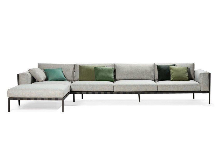 Corner fabric sofa with chaise longue NATAL ALU SOFA | Corner sofa by TRIBÙ