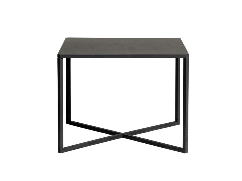 Low square powder coated aluminium coffee table NATAL ALU X | Low coffee table by TRIBÙ