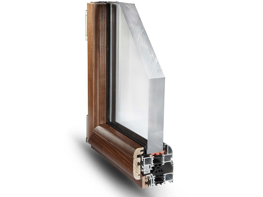 Aluminium and wood thermal break window NATHURA 82 by Fresia Alluminio