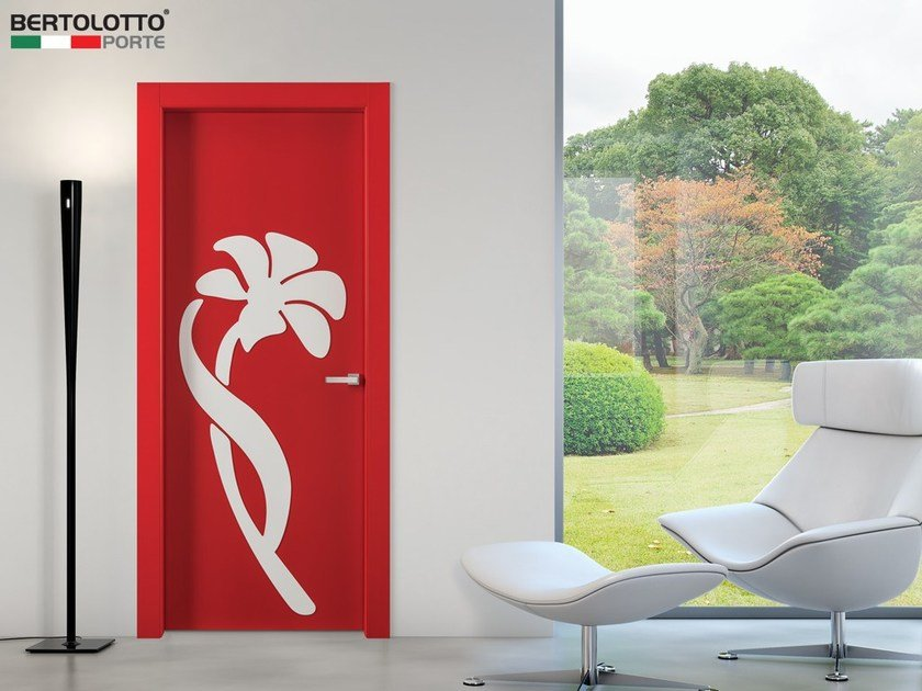 Contemporary style hinged lacquered wooden door with concealed hinges NATURA 3D | Hinged door by Bertolotto Porte