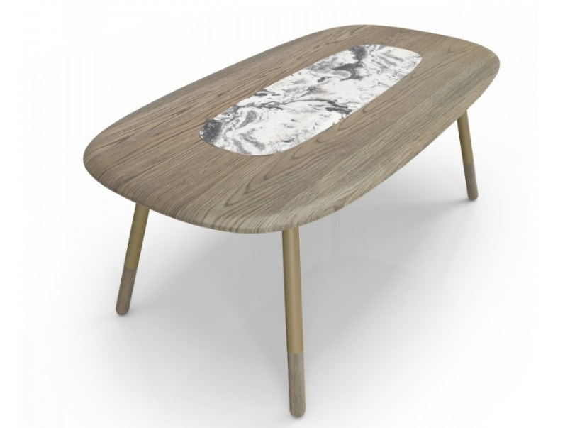 Rectangular oak and natural stone dining table KOVAL | Natural stone table by Huppé