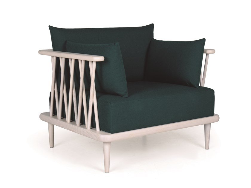 Wooden armchair with armrests NATURE LOUNGE by Fenabel
