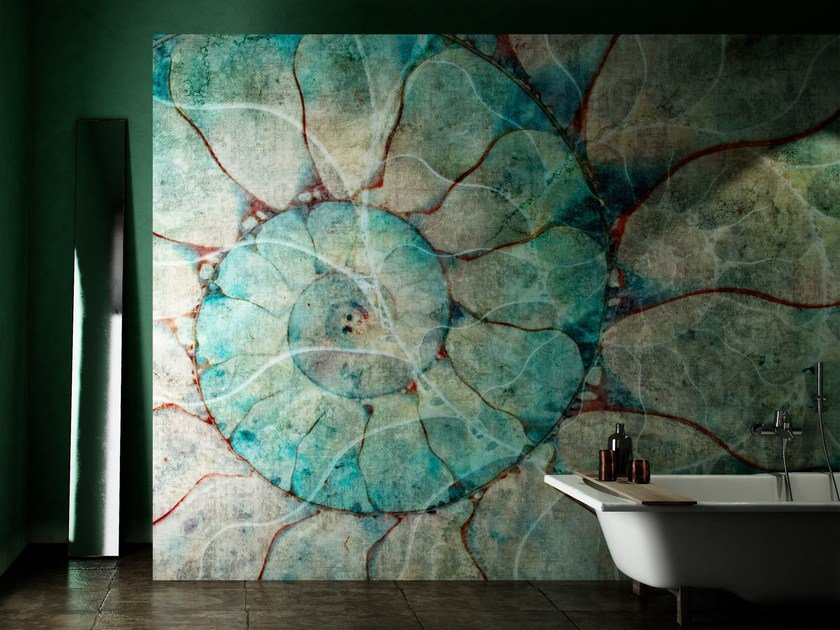 Carta da parati geometrica lavabile in vinile nautilus for Carta parati lavabile