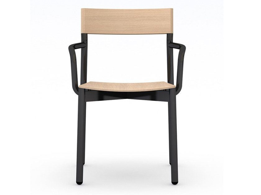 Stackable iron and wooden chair with armrests NAVIA | Chair with armrests by Vela Arredamenti