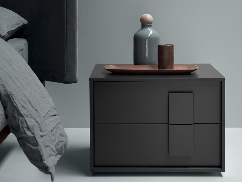 Contemporary style lacquered rectangular wood-product bedside table with drawers NAVIS | Bedside table by Md House