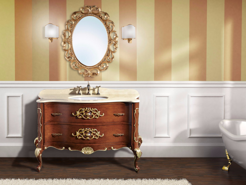 Single vanity unit with drawers with mirror NAXOS CM06NA by LA BUSSOLA