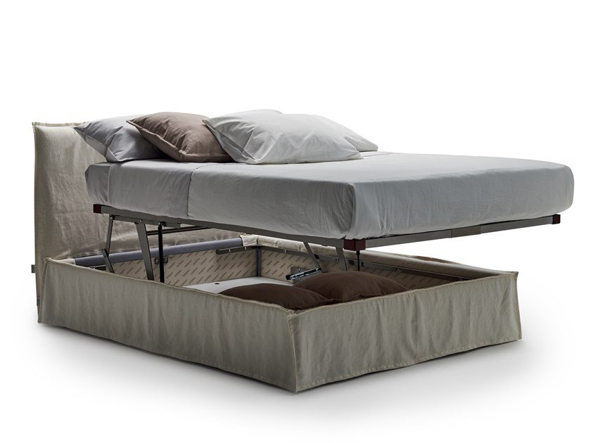 Fabric storage bed with removable cover NAXOS by Milano Bedding