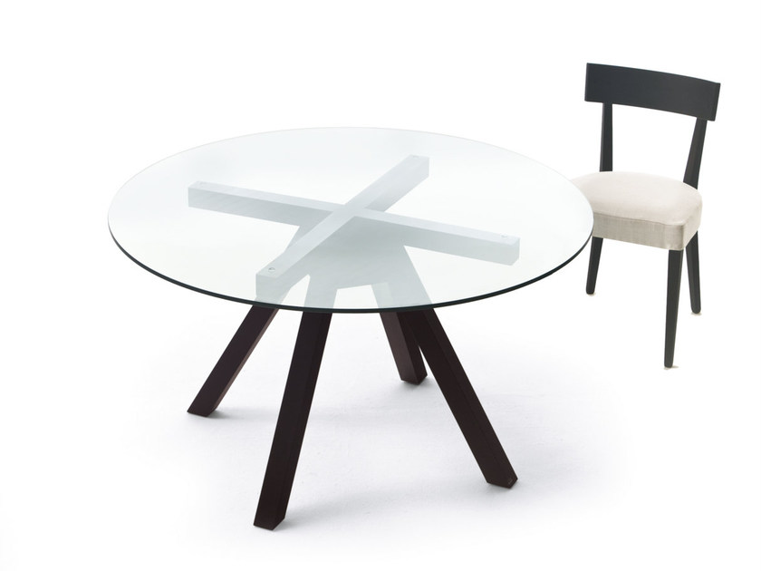 Round wood and glass table NAXOS by Pacini & Cappellini