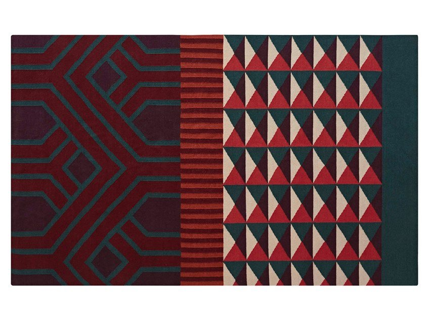 Rectangular wool rug with geometric shapes NDEBELE RED by GAN