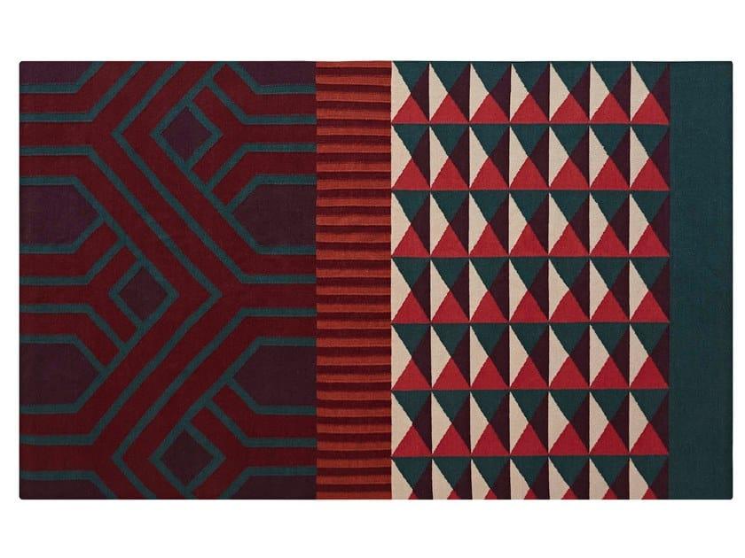 Tappeto rettangolare in lana a motivi geometrici NDEBELE RED by GAN
