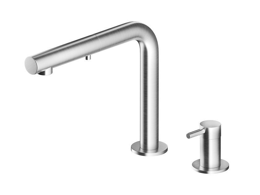 Stainless steel kitchen mixer tap with pull out spray NEMO HD by MGS