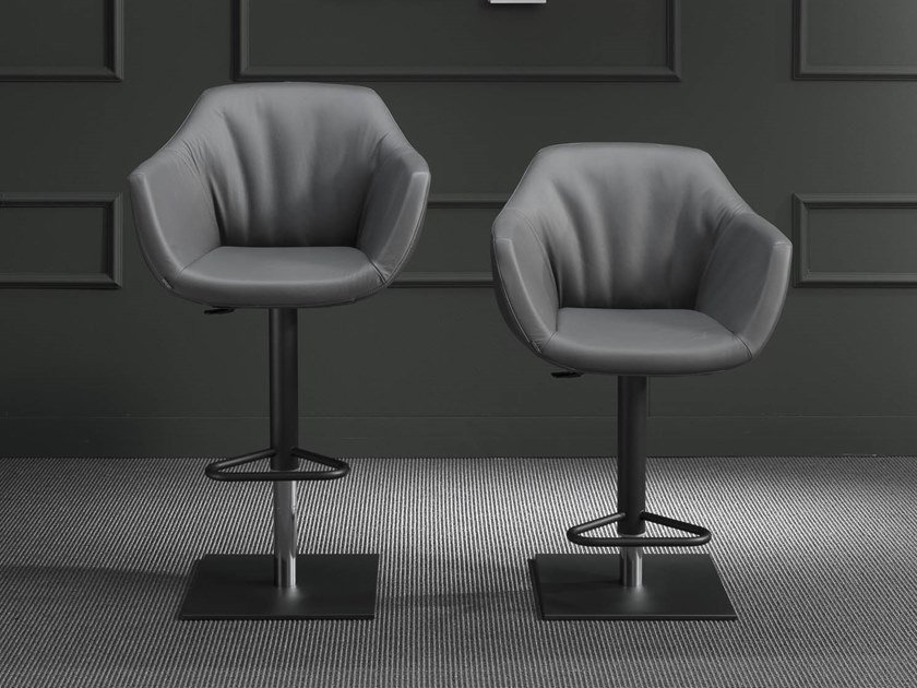 Upholstered leather stool with gas lift NEMO by Ozzio Italia